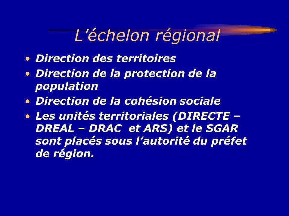 Léchelon régional Direction des territoires Direction de la protection de la population Direction de la cohésion sociale Les unités territoriales (DIR