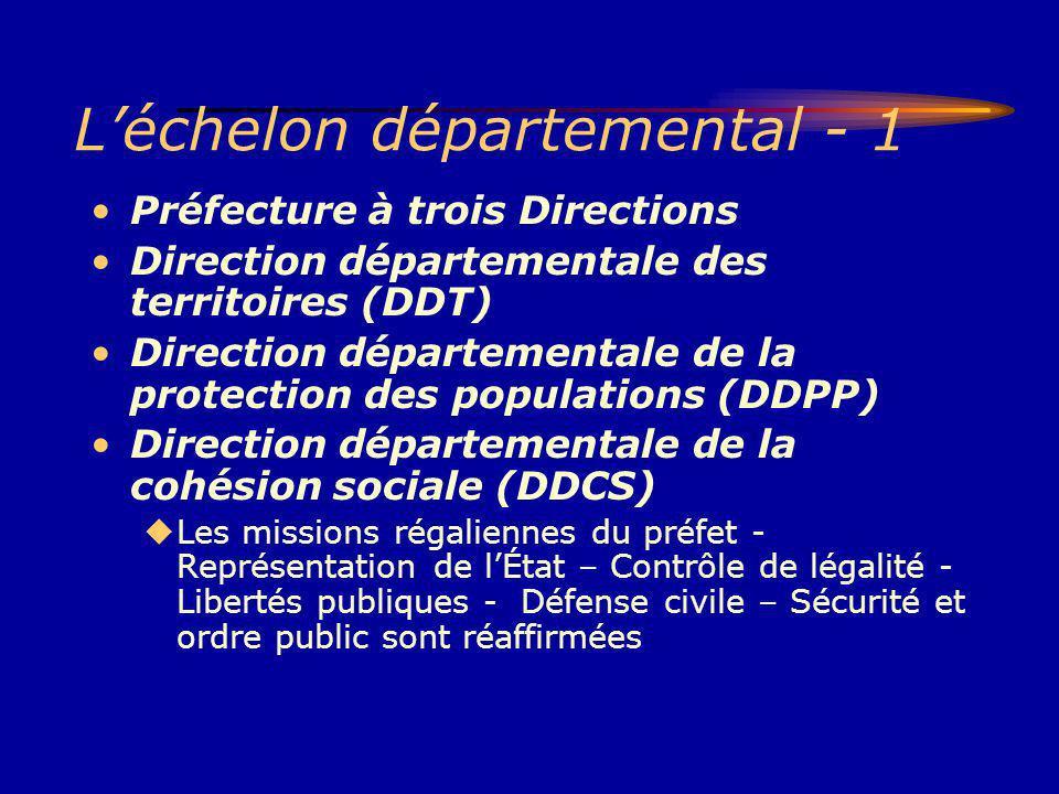 Léchelon départemental - 1 Préfecture à trois Directions Direction départementale des territoires (DDT) Direction départementale de la protection des