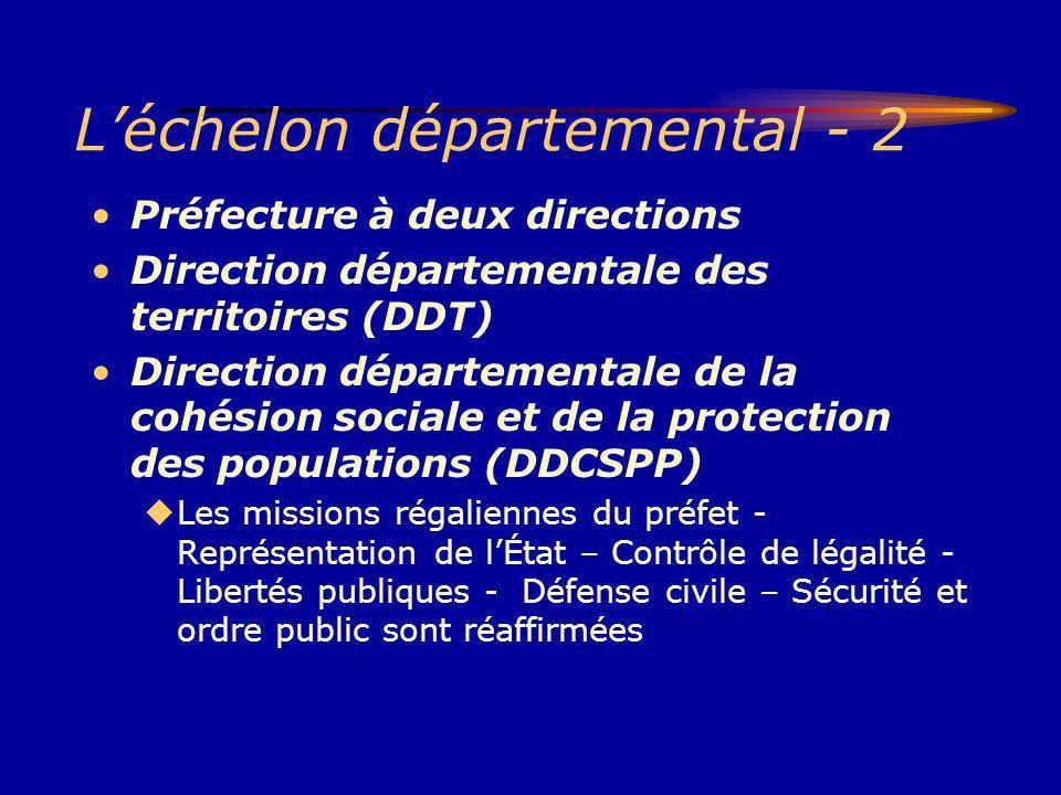 Léchelon départemental - 2 Préfecture à deux directions Direction départementale des territoires (DDT) Direction départementale de la cohésion sociale