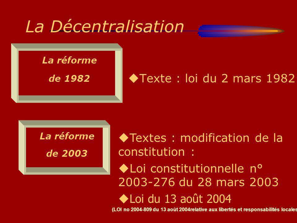 La Décentralisation Texte : loi du 2 mars 1982 La réforme de 1982 La réforme de 2003 Textes : modification de la constitution : Loi constitutionnelle