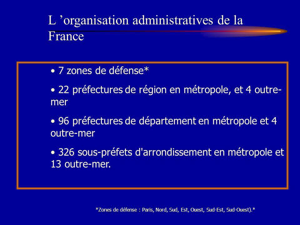 7 zones de défense* 22 préfectures de région en métropole, et 4 outre- mer 96 préfectures de département en métropole et 4 outre-mer 326 sous-préfets