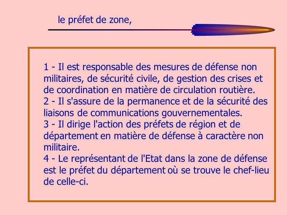 1 - Il est responsable des mesures de défense non militaires, de sécurité civile, de gestion des crises et de coordination en matière de circulation r