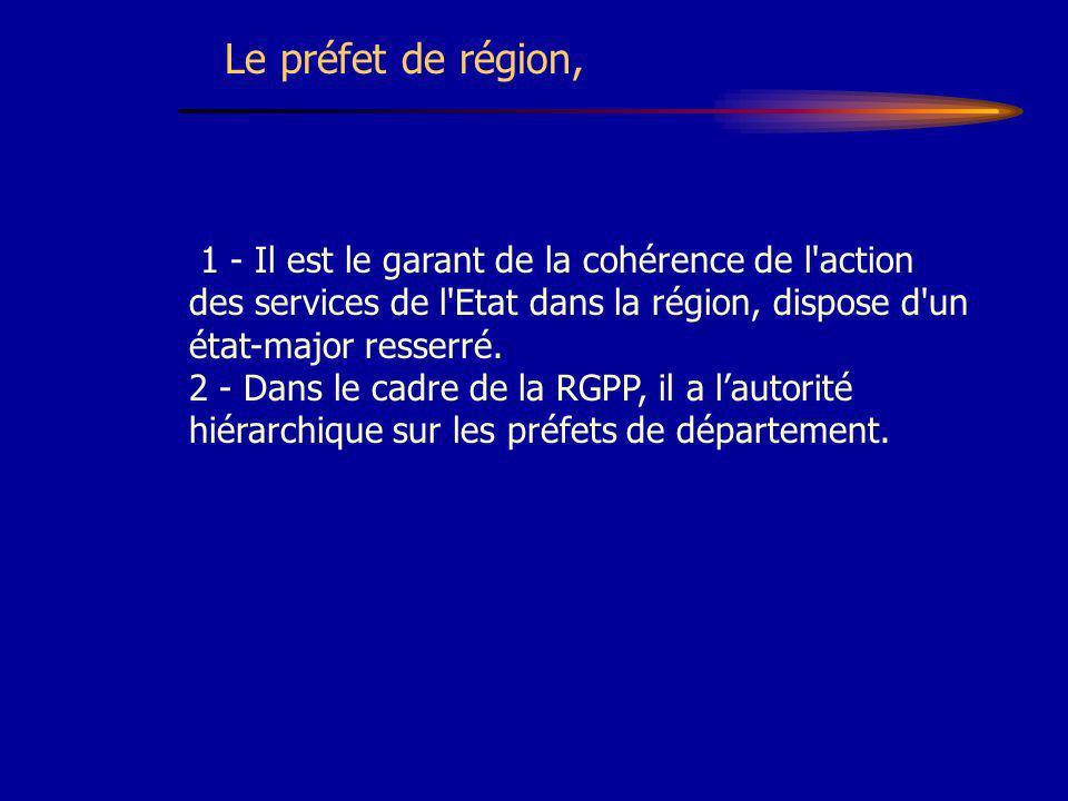 1 - Il est le garant de la cohérence de l'action des services de l'Etat dans la région, dispose d'un état-major resserré. 2 - Dans le cadre de la RGPP