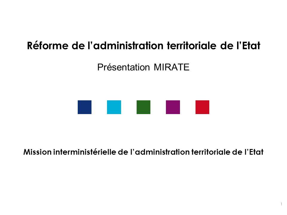 1 Réforme de ladministration territoriale de lEtat Présentation MIRATE Mission interministérielle de ladministration territoriale de lEtat