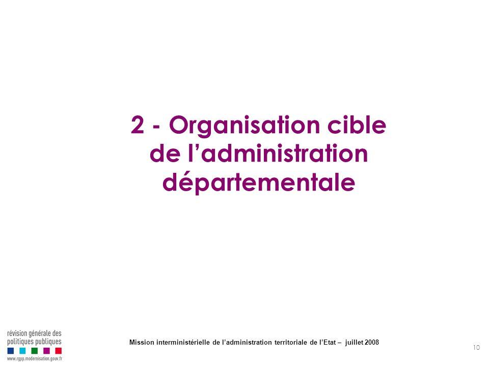 10 2 - Organisation cible de ladministration départementale Mission interministérielle de ladministration territoriale de lEtat – juillet 2008