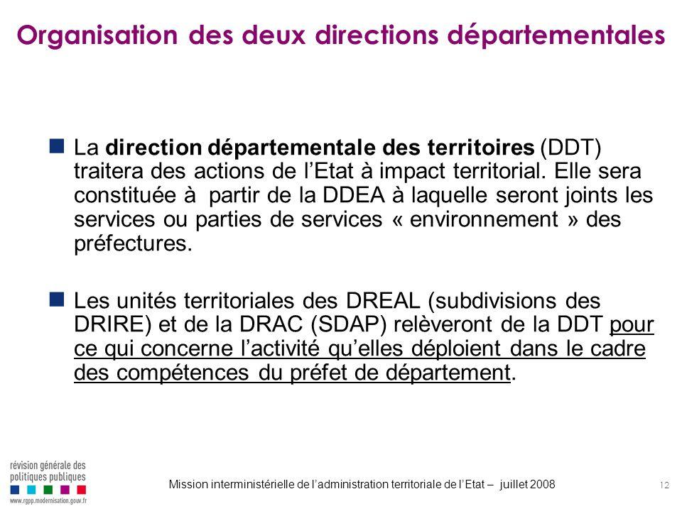 12 Organisation des deux directions départementales La direction départementale des territoires (DDT) traitera des actions de lEtat à impact territori