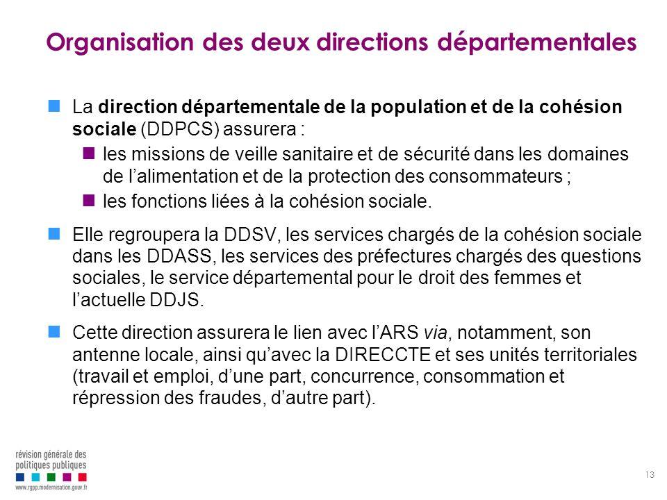 13 Organisation des deux directions départementales La direction départementale de la population et de la cohésion sociale (DDPCS) assurera : les miss