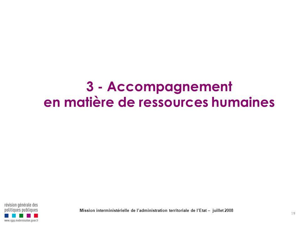 19 3 - Accompagnement en matière de ressources humaines Mission interministérielle de ladministration territoriale de lEtat – juillet 2008