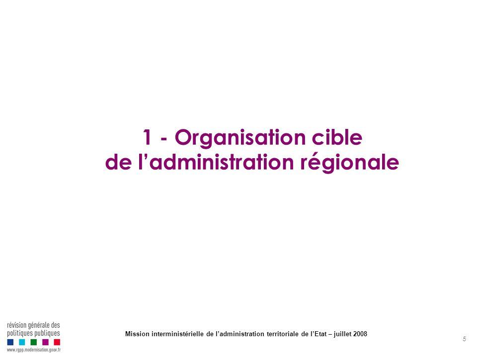 5 1 - Organisation cible de ladministration régionale Mission interministérielle de ladministration territoriale de lEtat – juillet 2008