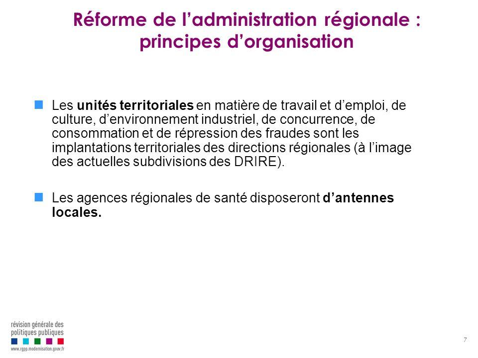 8 Réforme de ladministration régionale : organisation cible Préfet de région SGAR DREALDRAAFDRJSCSARS Rectorat académie DRFIPDIRECCTEDRAC DRAC = direction régionale de la culture DREAL = direction régionale de lenvironnement, de laménagement et du logement = DRE + DRIRE (hors DI et métrologie) + DIREN DRAAF = direction régionale de lagriculture, de lalimentation et de la forêt = DRAF + SV DRJSCS = direction régionale de la jeunesse, des sports et de la cohésion sociale = DRJS + DRASS hors santé DIRECCTE = direction régionale des entreprises, de la concurrence et de la consommation, du travail et de lemploi = DRTEFP + DDTEFP + DRCCRF + DRT + DRCA + DRCE + DRIRE (DI et métrologie) DRFIP = TPGR + services fiscaux ARS = agence régionale de santé = ARH + GRSP + URCAM + DRASS et DDASS hors cohésion sociale + CRAM Mission interministérielle de ladministration territoriale de lEtat – juillet 2008