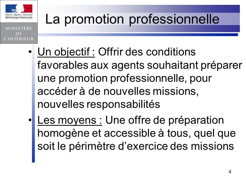 4 La promotion professionnelle Un objectif : Offrir des conditions favorables aux agents souhaitant préparer une promotion professionnelle, pour accéd
