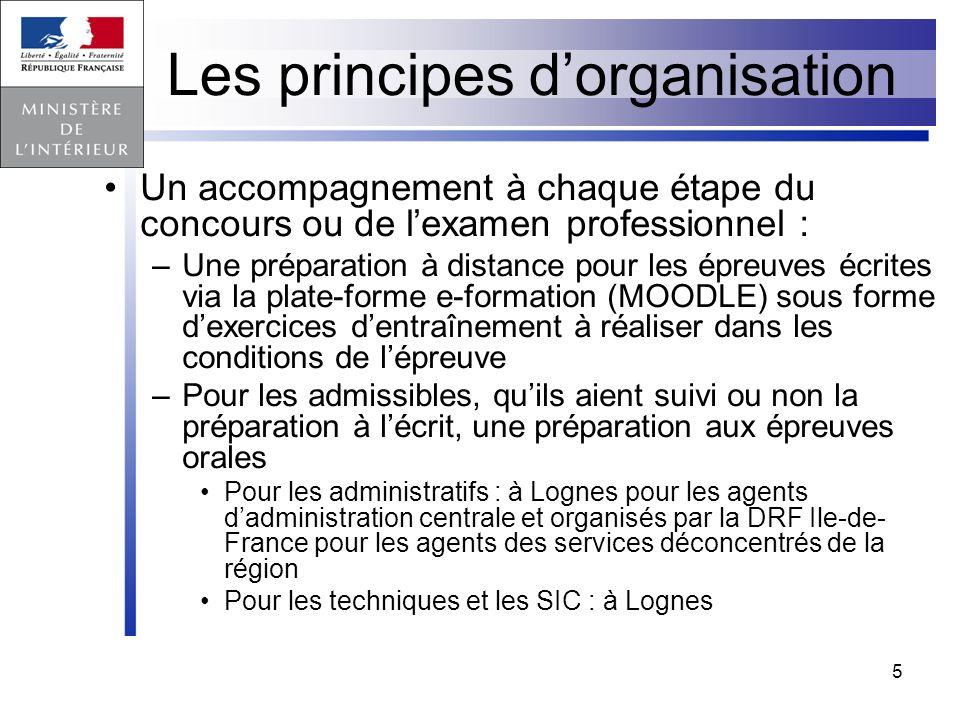5 Les principes dorganisation Un accompagnement à chaque étape du concours ou de lexamen professionnel : –Une préparation à distance pour les épreuves