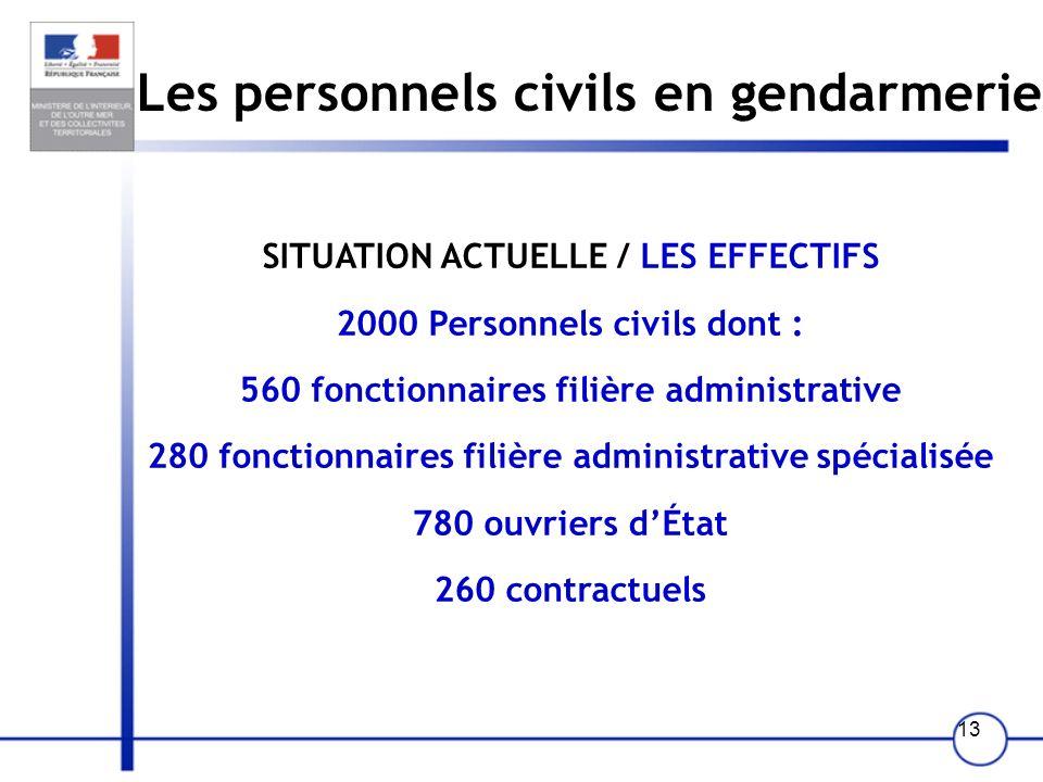 13 Les personnels civils en gendarmerie SITUATION ACTUELLE / LES EFFECTIFS 2000 Personnels civils dont : 560 fonctionnaires filière administrative 280