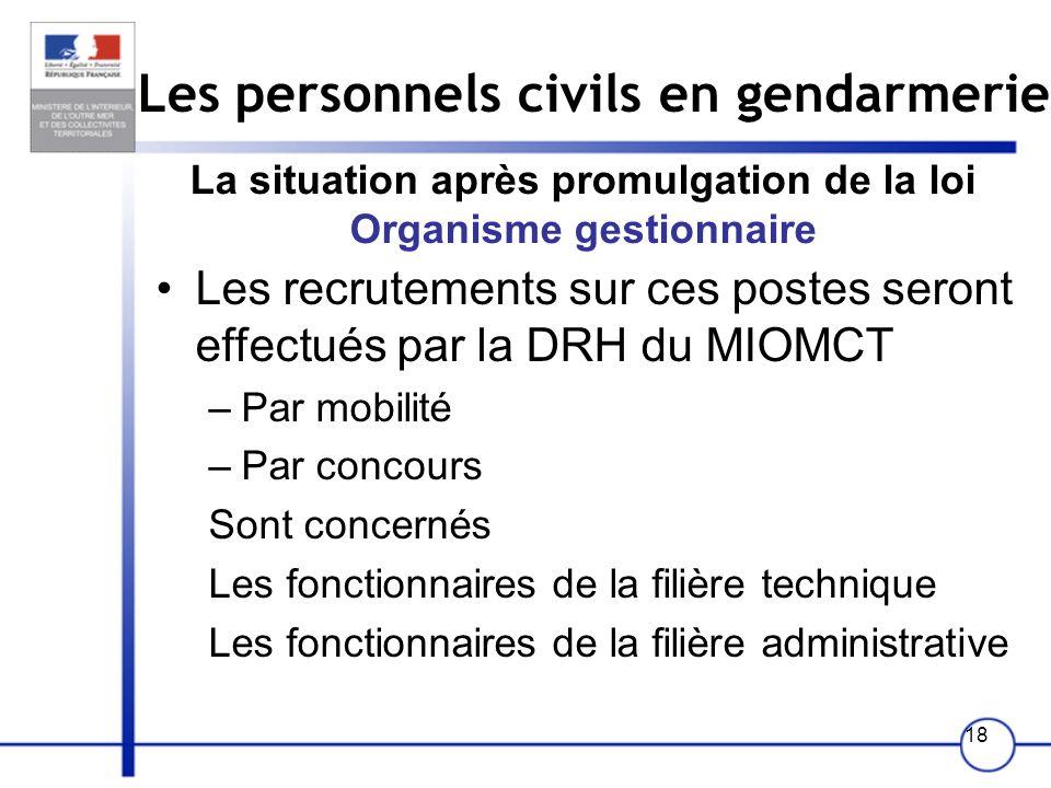 18 Les personnels civils en gendarmerie La situation après promulgation de la loi Organisme gestionnaire Les recrutements sur ces postes seront effect