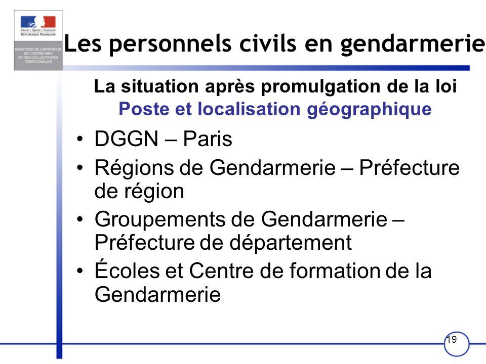 19 Les personnels civils en gendarmerie La situation après promulgation de la loi Poste et localisation géographique DGGN – Paris Régions de Gendarmer
