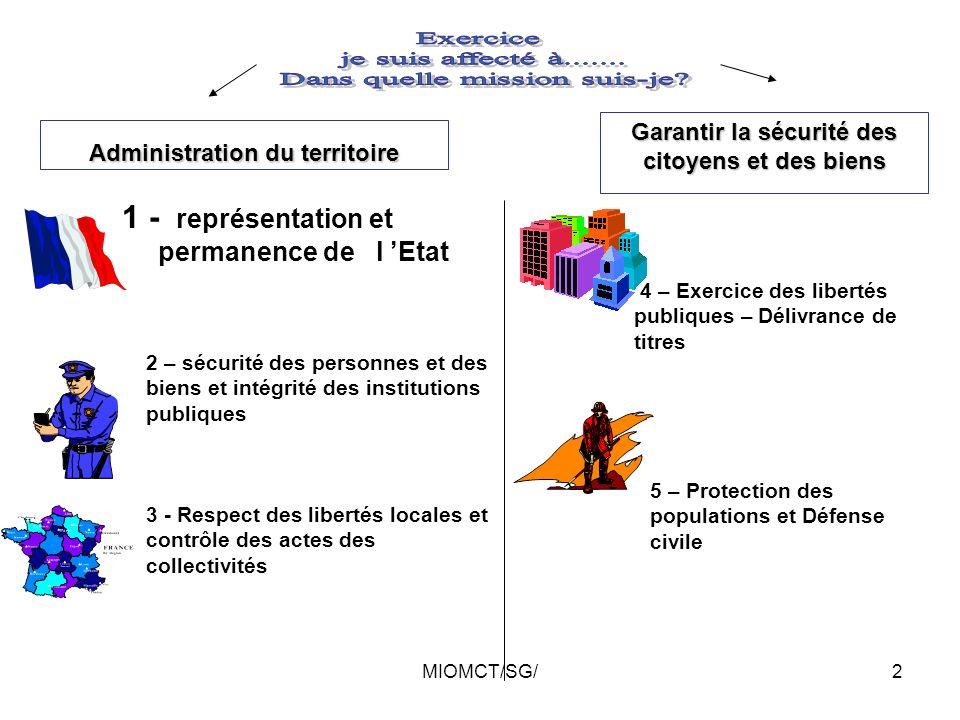 MIOMCT/SG/1 Mission des préfectures Environnement professionnel