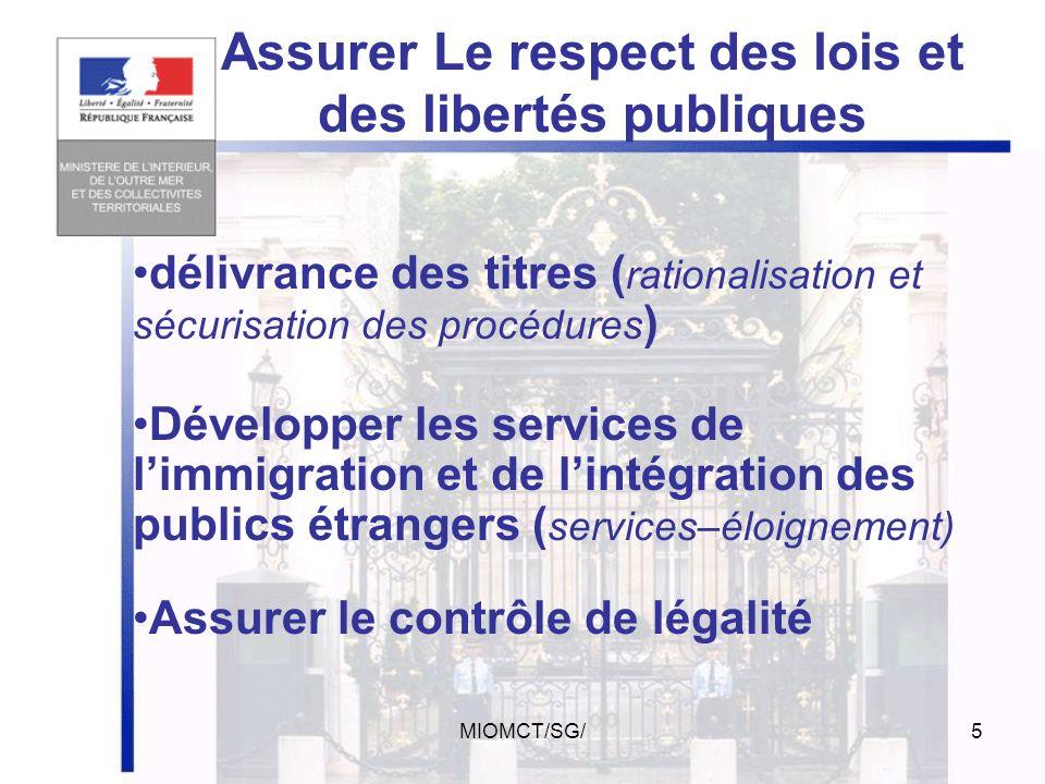 MIOMCT/SG/4 Coordonner la sécurité publique (Dispose des forces de sécurité publiques police gendarmerie) Prévention de la délinquance Garant de la dé
