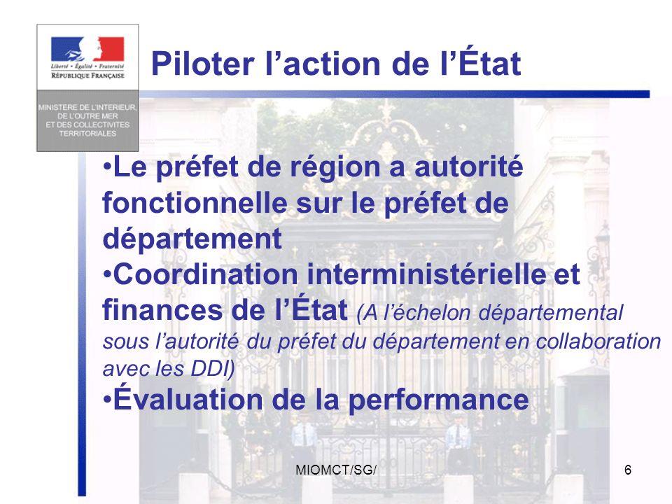 MIOMCT/SG/5 délivrance des titres ( rationalisation et sécurisation des procédures ) Développer les services de limmigration et de lintégration des pu