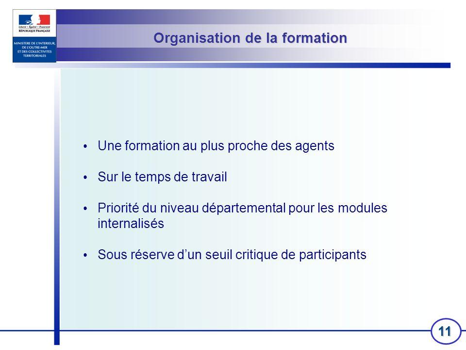 11 Organisation de la formation Une formation au plus proche des agents Sur le temps de travail Priorité du niveau départemental pour les modules inte