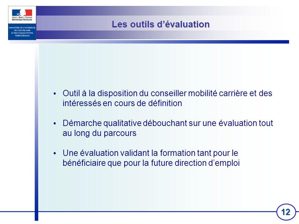 12 Les outils dévaluation Outil à la disposition du conseiller mobilité carrière et des intéressés en cours de définition Démarche qualitative débouch