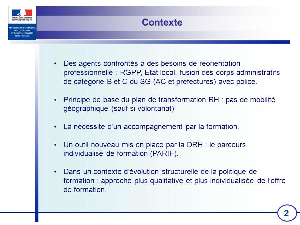 2 Contexte Des agents confrontés à des besoins de réorientation professionnelle : RGPP, Etat local, fusion des corps administratifs de catégorie B et