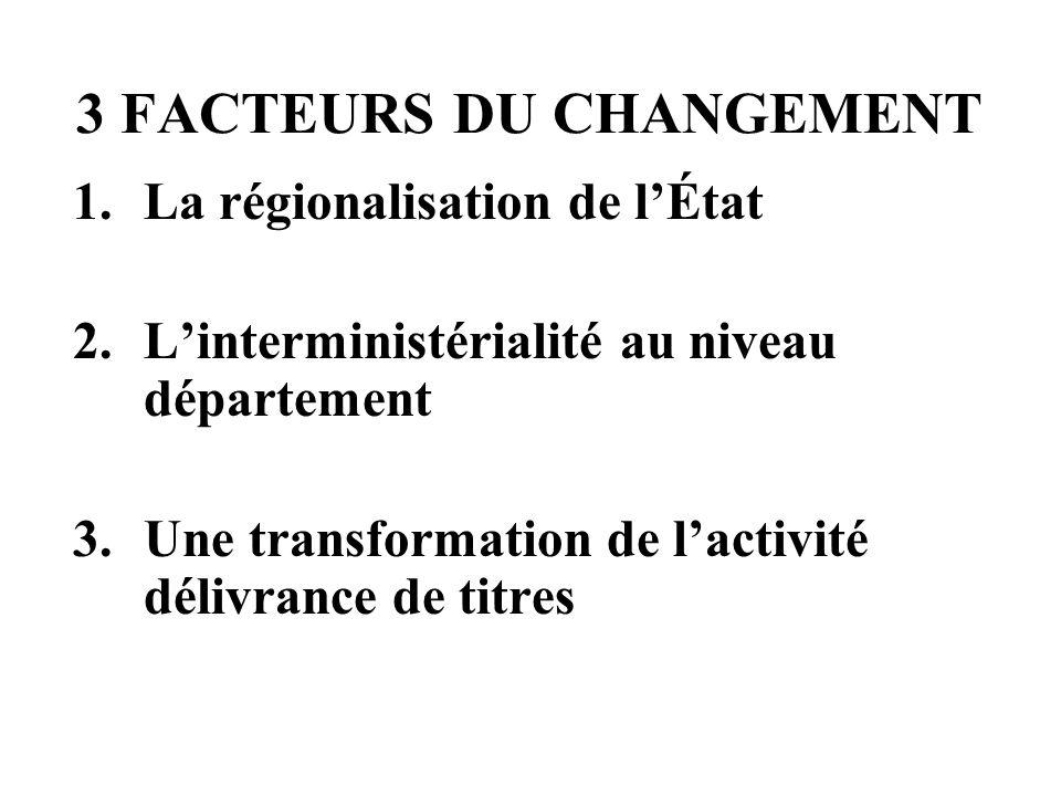 UNE DNO - TROIS PARTIES 3 Facteurs du changement et dévolution du réseau préfectoral Rénovation des missions des préfectures Les conditions du succès