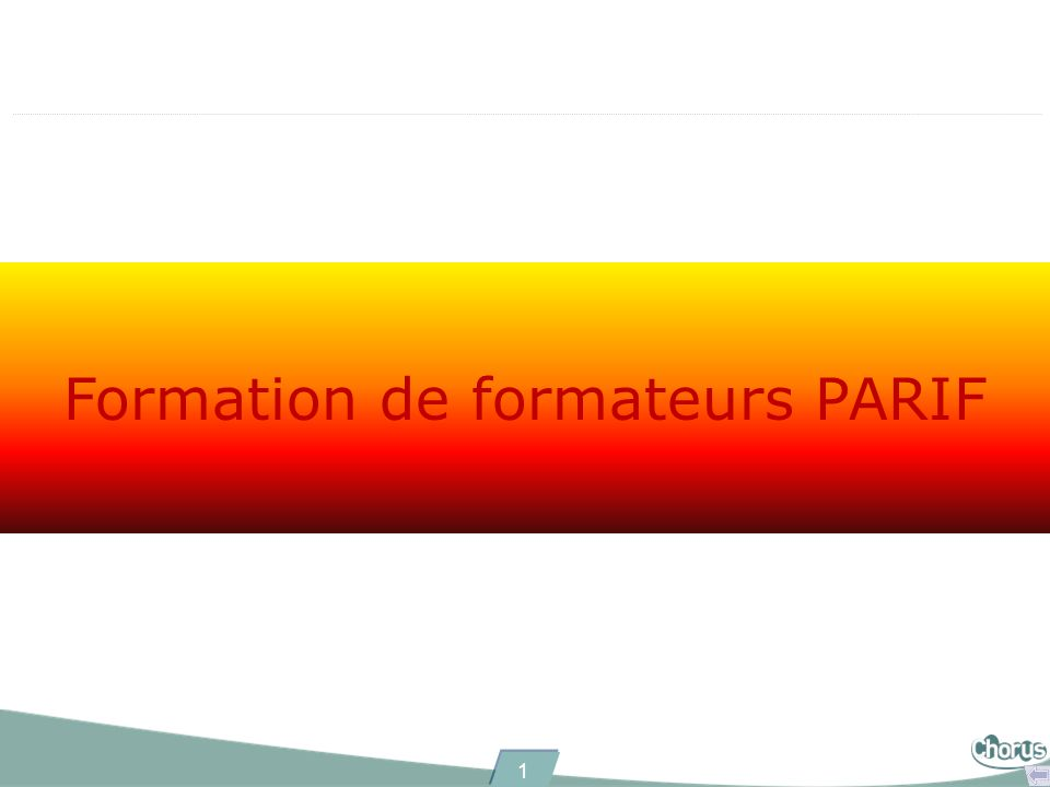 1 Formation de formateurs PARIF
