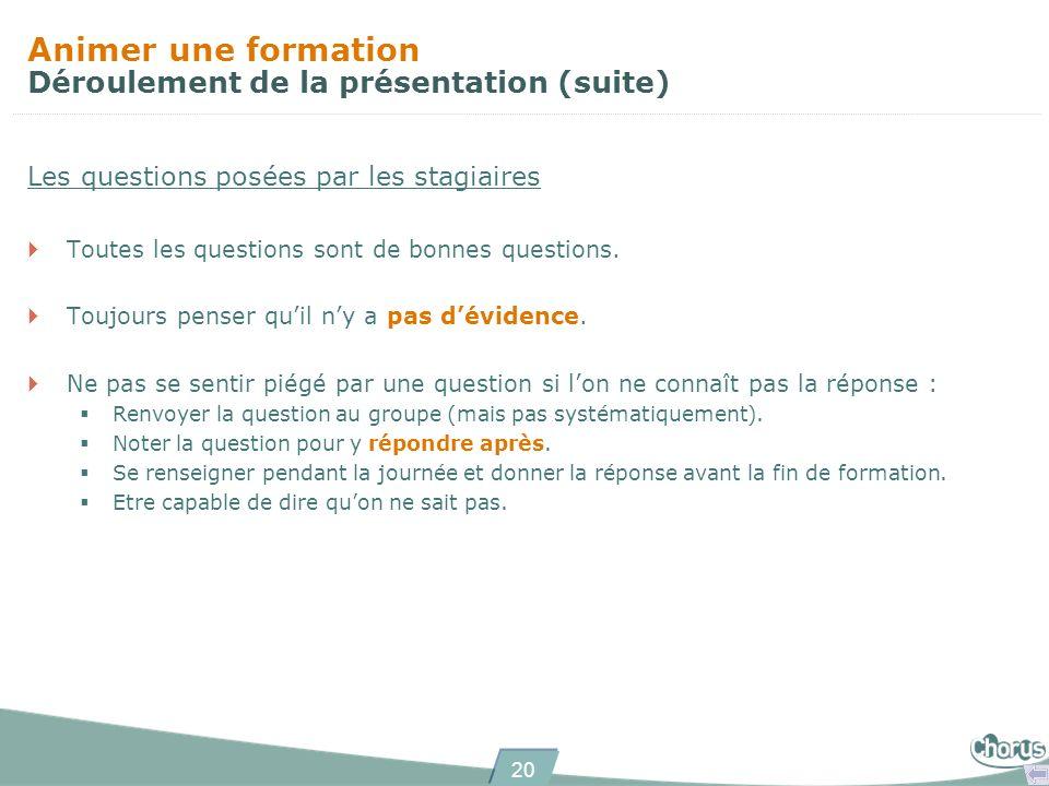 20 Animer une formation Déroulement de la présentation (suite) Les questions posées par les stagiaires Toutes les questions sont de bonnes questions.