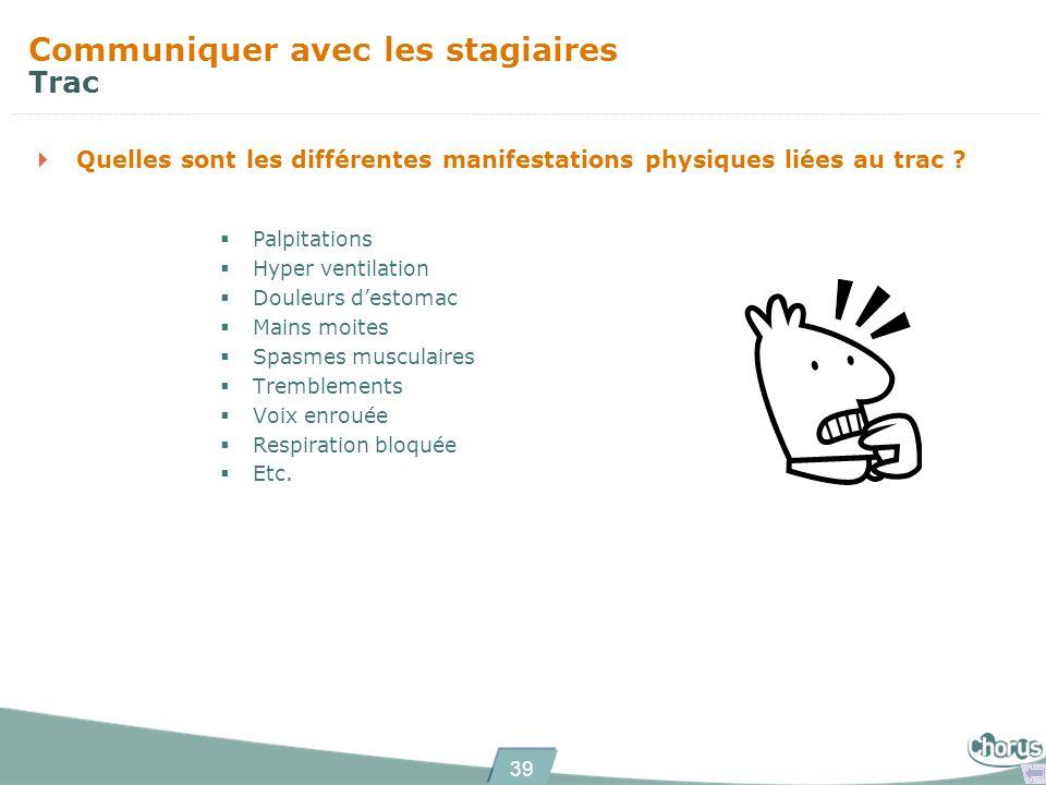 39 Quelles sont les différentes manifestations physiques liées au trac ? Communiquer avec les stagiaires Trac Palpitations Hyper ventilation Douleurs