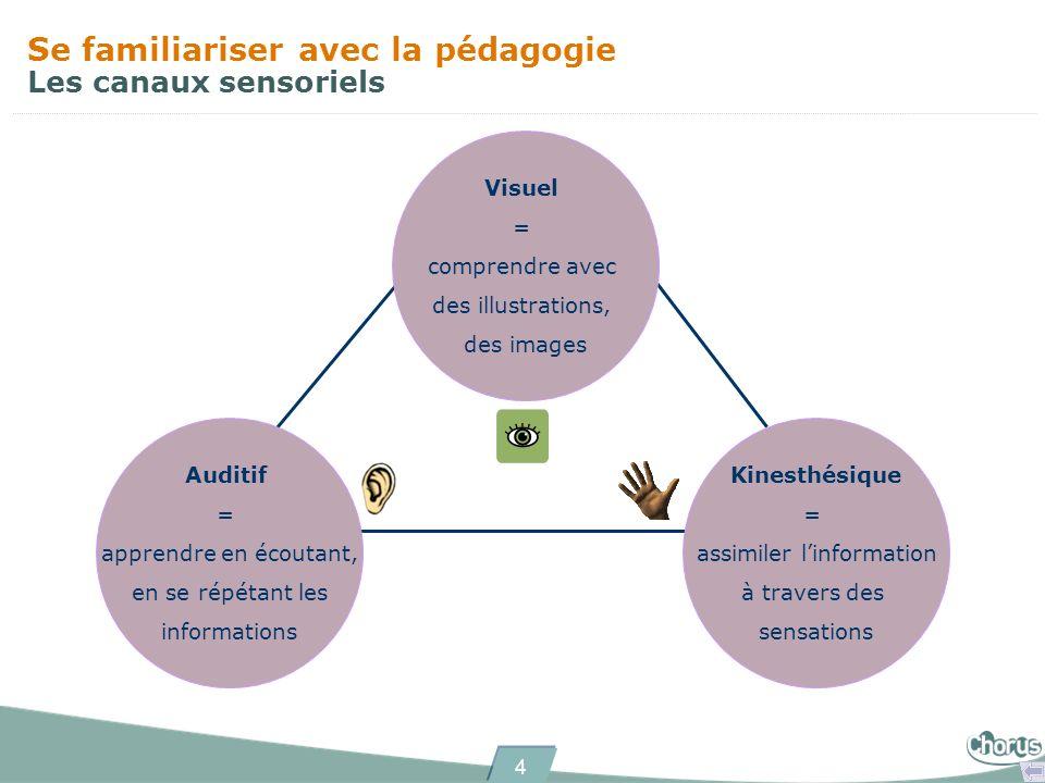 4 Se familiariser avec la pédagogie Les canaux sensoriels Visuel = comprendre avec des illustrations, des images Auditif = apprendre en écoutant, en s