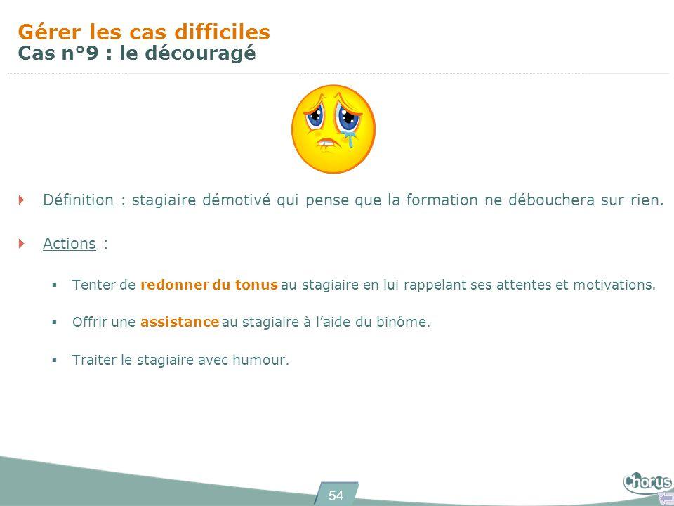 54 Gérer les cas difficiles Cas n°9 : le découragé Définition : stagiaire démotivé qui pense que la formation ne débouchera sur rien.