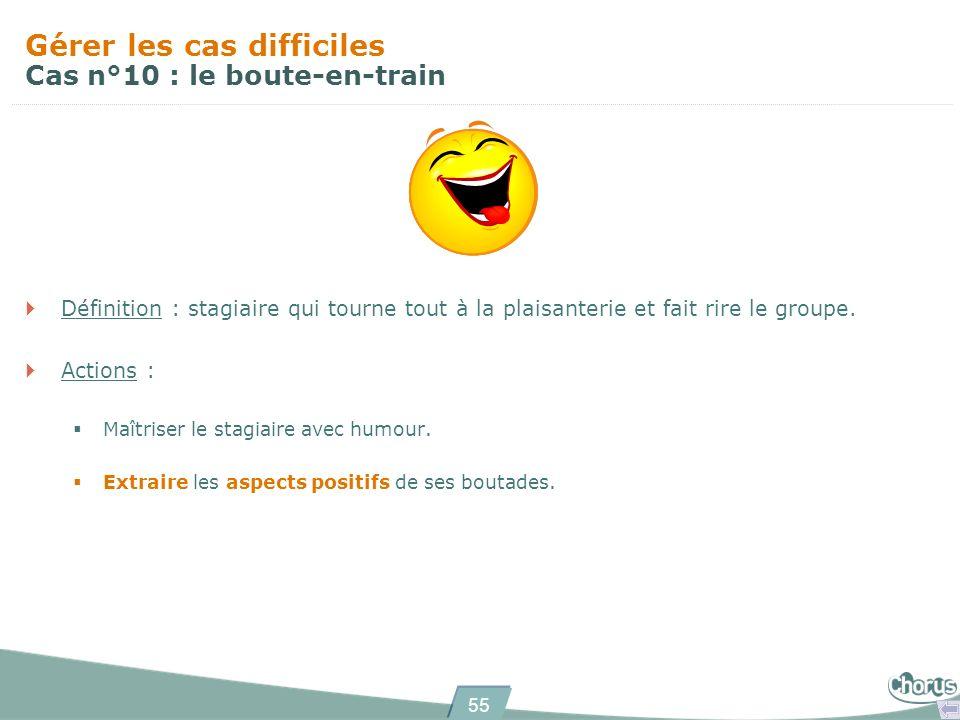 55 Gérer les cas difficiles Cas n°10 : le boute-en-train Définition : stagiaire qui tourne tout à la plaisanterie et fait rire le groupe.