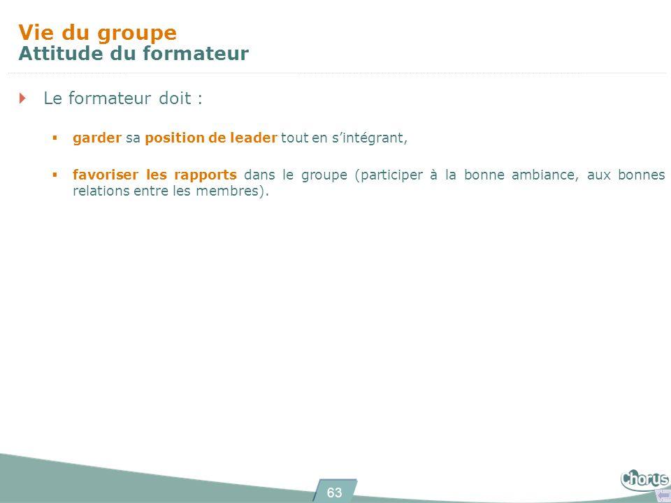 63 Le formateur doit : garder sa position de leader tout en sintégrant, favoriser les rapports dans le groupe (participer à la bonne ambiance, aux bon