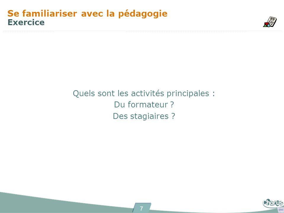 7 Se familiariser avec la pédagogie Exercice Quels sont les activités principales : Du formateur ? Des stagiaires ?