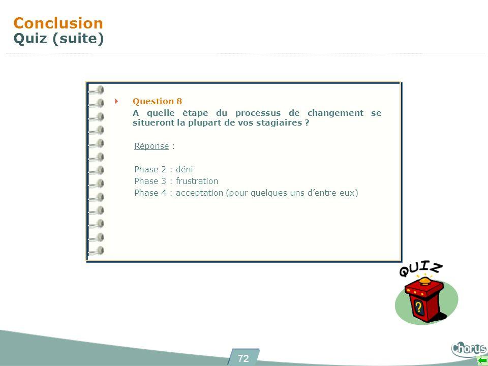 72 Conclusion Quiz (suite) Question 8 A quelle étape du processus de changement se situeront la plupart de vos stagiaires ? Réponse : Phase 2 : déni P