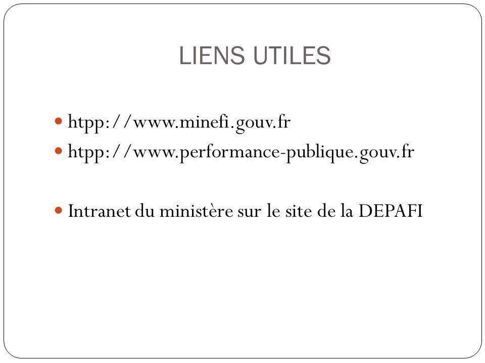 LIENS UTILES htpp://www.minefi.gouv.fr htpp://www.performance-publique.gouv.fr Intranet du ministère sur le site de la DEPAFI