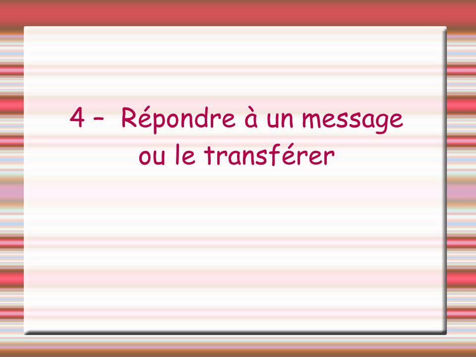 4 – Répondre à un message ou le transférer