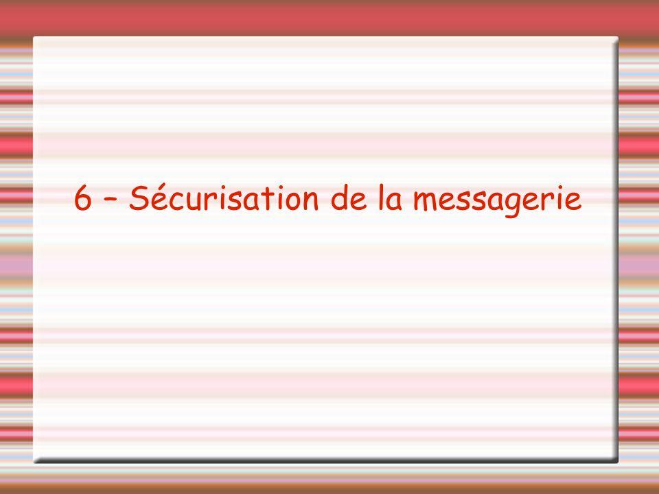 6 – Sécurisation de la messagerie