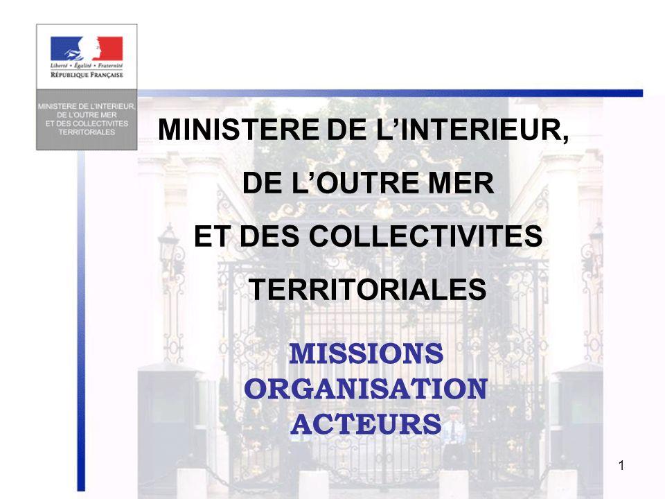 1 MISSIONS ORGANISATION ACTEURS MINISTERE DE LINTERIEUR, DE LOUTRE MER ET DES COLLECTIVITES TERRITORIALES