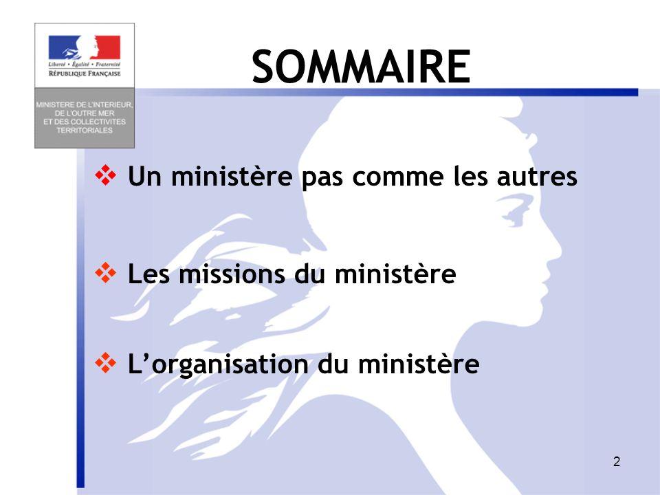 12 Un ministère pas comme les autres Les missions du ministère Lorganisation du ministère