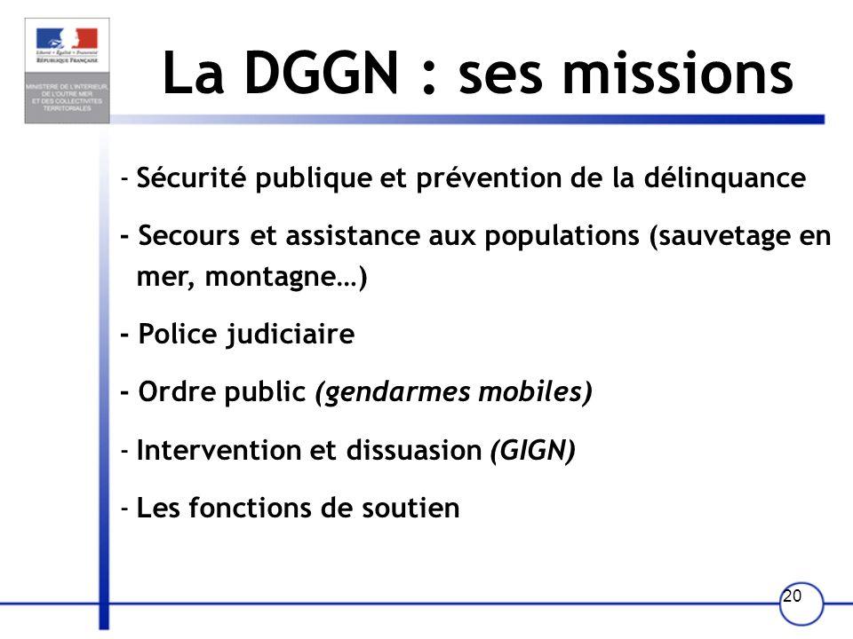 19 La DGPN : ses missions -Sécurité des personnes, des biens et des institutions (DCSP, DCRI, SPHP) - Flux migratoires et lutte contre le travail illé