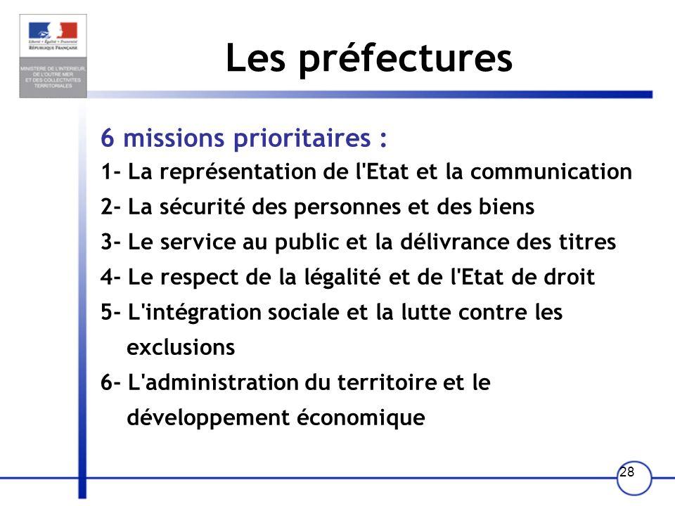 27 Ladministration territoriale Les préfectures Missions Organisation La réorganisation de ladministration territoriale de lEtat (Réate)