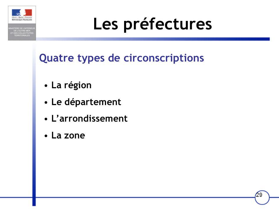 28 Les préfectures 6 missions prioritaires : 1- La représentation de l'Etat et la communication 2- La sécurité des personnes et des biens 3- Le servic
