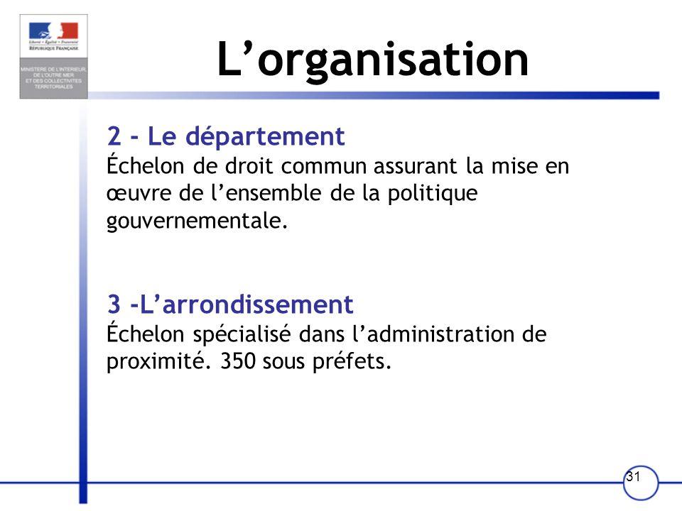 30 Lorganisation 1 - La région Échelon dorientation et de coordination des politiques publiques (le développement économique et social, laménagement d
