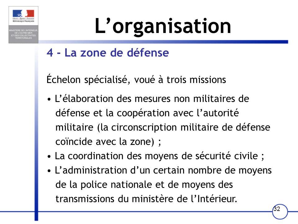 31 Lorganisation 2 - Le département Échelon de droit commun assurant la mise en œuvre de lensemble de la politique gouvernementale. 3 -Larrondissement
