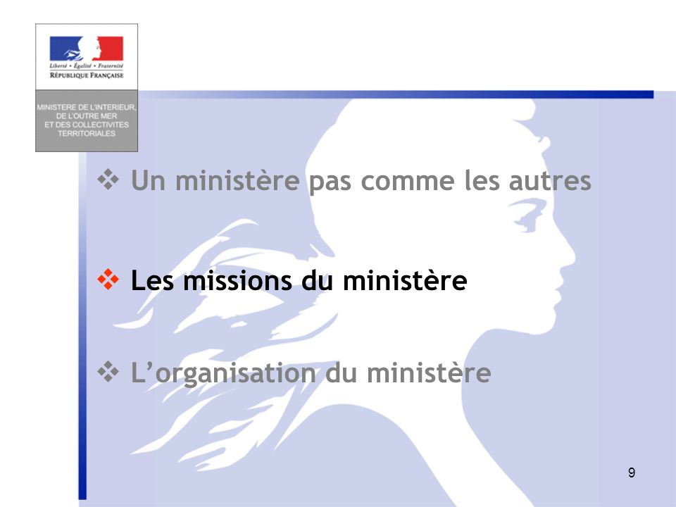 8 Chiffres clefs Budget 2010 : 24 MD Personnels = 67,5% Interventions = 19.1% Moyens des services = 13.3 % Outre-mer Relations avec les coll territori