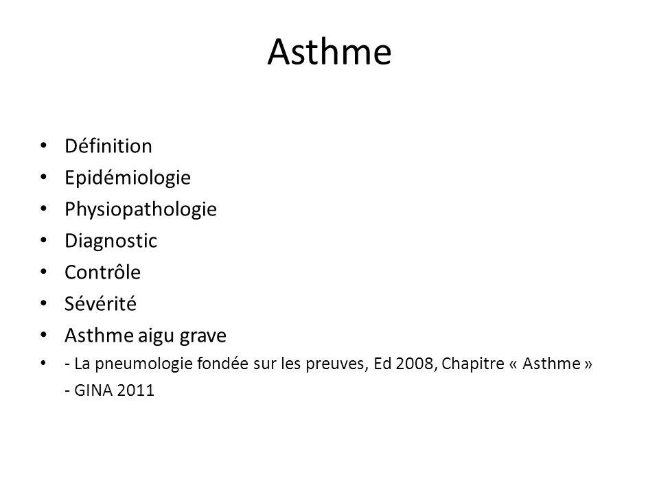 Asthme Définition Epidémiologie Physiopathologie Diagnostic Contrôle Sévérité Asthme aigu grave - La pneumologie fondée sur les preuves, Ed 2008, Chap