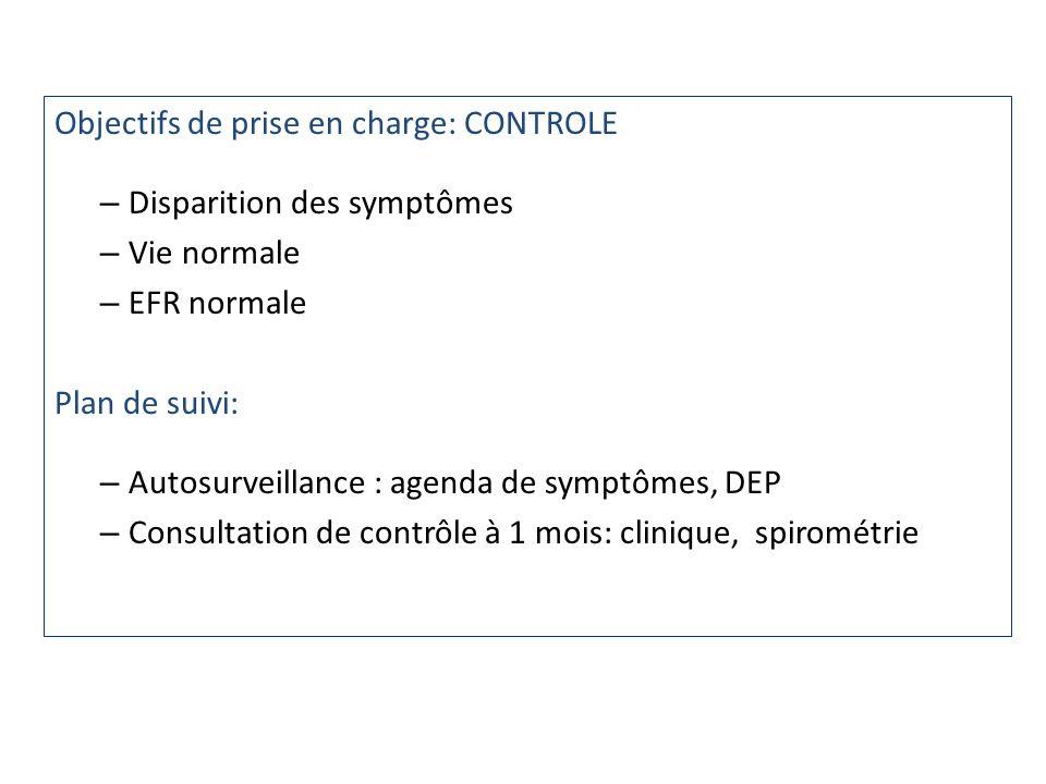 Objectifs de prise en charge: CONTROLE – Disparition des symptômes – Vie normale – EFR normale Plan de suivi: – Autosurveillance : agenda de symptômes