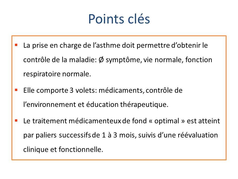 Points clés La prise en charge de lasthme doit permettre dobtenir le contrôle de la maladie: Ø symptôme, vie normale, fonction respiratoire normale. E