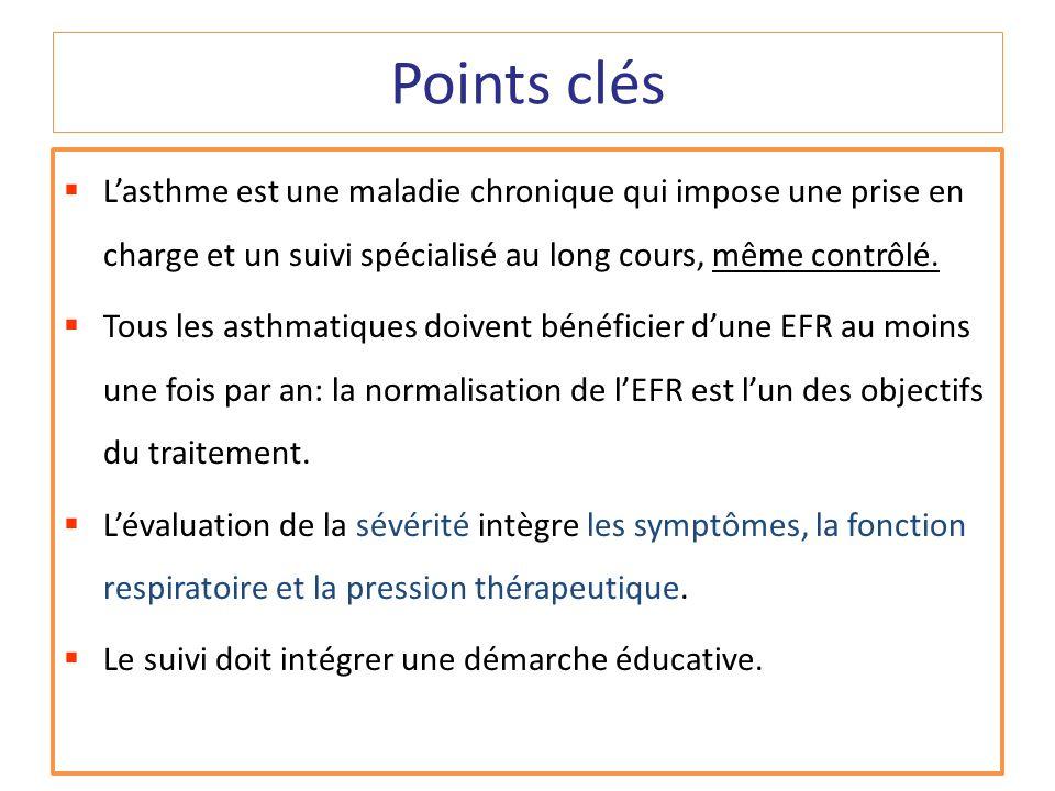 Points clés Lasthme est une maladie chronique qui impose une prise en charge et un suivi spécialisé au long cours, même contrôlé. Tous les asthmatique